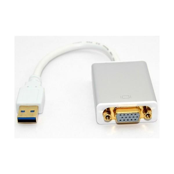 Techly USB 3.0 - VGA M/F USB 3.0 VGA Bianco cavo di interfaccia e adattatore