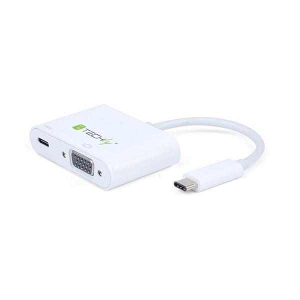 Techly Cavo Convertitore Adattatore da USB-C a VGA, Porta di Ricarica USB-C (IADAP USB31-VU31)