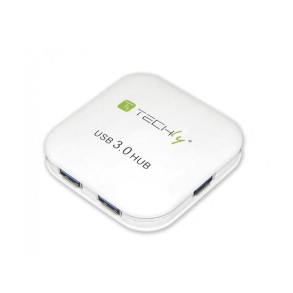 Techly Hub USB 3.0 Super Speed 4 Porte Bianco (IUSB3-HUB4-WH)